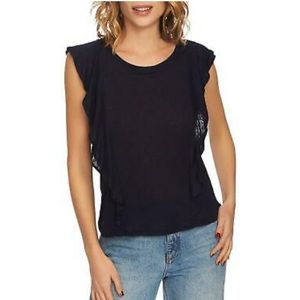1. State Ruffle Linen Top in Navy, Size L